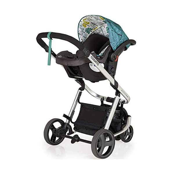Cosatto Giggle Mix pram and Pushchair in Fjord with car seat Base & raincover Cosatto Includes: Chassis,Seat unit, Hold Car seat,Isofix base,Car seat adaptors,Raincover, Apron and 4 Year guarantee(UK and Ireland only) Suitable from birth up to 15kg. One unit transforms from newborn pram mode into pushchair mode. Space saving. No need to buy separate carrycot.. Colour packs available so you can change the look to suit your mood, family and adventures. Includes hood, pram apron and padded pushchair apron. 8