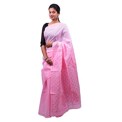 Bds Chikan Cotton Saree (Bds00439_Baby Pink)