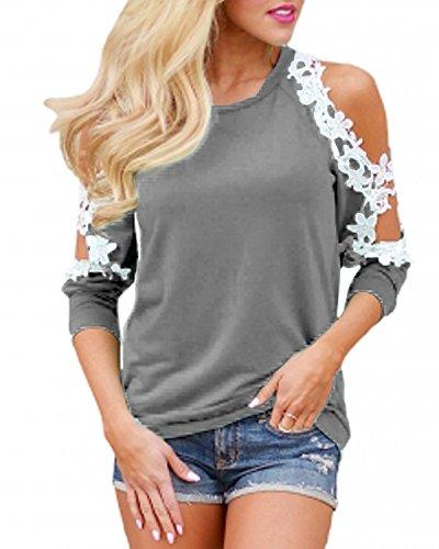 StyleDome Femme Sexy Lace Crochet Tops Epaules Dénudé Manches Longues Shirts Casual Haut Tunique Blouse Gris
