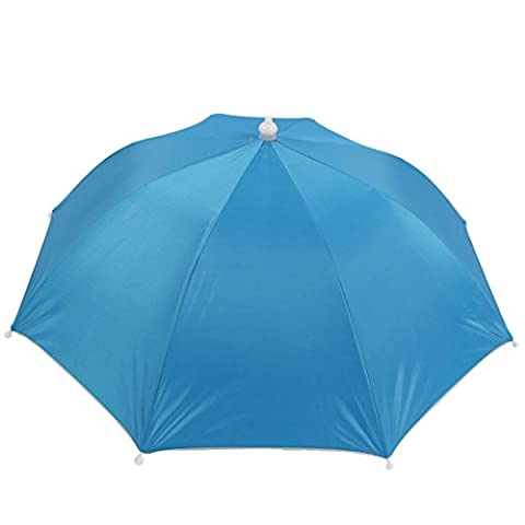 sourcingmap® Fishing Golf Beach Blue Polyester Headwear Umbrella Hat