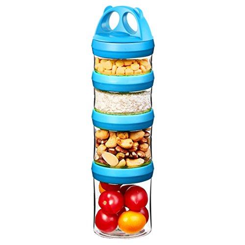 Tritan Frischhaltedosen Snack Aufbewahrungsbox , Twist lock 4-teilig Stapelbar, 100{d8b923f260dee77ae175e734799fcc38fd45f97cda9cbaa44e05d9613eeb137d} BPA-Frei, Luftdicht, Auslaufsicher, Geeignet für Mikrowelle, Gefrierschrank und Spülmaschine (0,91 Liter, Blau)