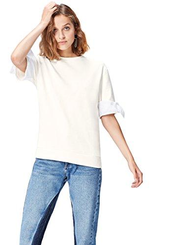 FIND Damen Bluse mit Schleifendetail Weiß (Ivory), 36 (Herstellergröße: Small)