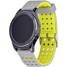 Greatfine 20MM Huawei Watch 2 Reemplazo liberación rápida Correa de reloj silicona hebilla pulsera para Samsung Gear S2 Classic SM-R732 / SM-R7320, Motorola Moto 360 2nd Generacion 42mm for men, Samsung Gear Sport (SilverYellow)