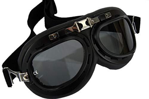 Qubeat Motorradbrille Classic, schwarz mit Smoke-getönten Gläsern und schwarzem Rahmen