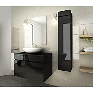 LUNA Ensemble de salle de bain 80cm noir vernis