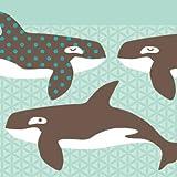 Anna Wand Bordüre selbstklebend All My ORCAS - Wandbordüre Kinderzimmer/Babyzimmer mit Wal-Motiv in Mint-Braun - Wandtattoo Schlafzimmer Mädchen & Junge, Wanddeko Baby/Kinder