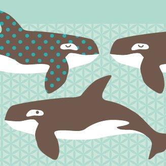 anna wand Bordüre selbstklebend ALL MY ORCAS - Wandbordüre Kinderzimmer / Babyzimmer mit Wal-Motiv in Mint-Braun - Wandtattoo Schlafzimmer...