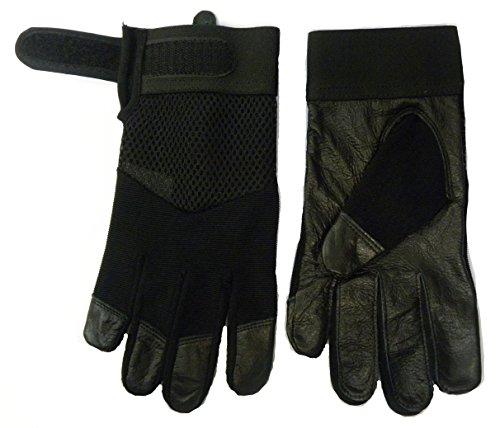 NEW Homme Tendance en cuir moitié Tissu Maille Air Mesh stretch Flexible réglable Gants Noir - Design-1