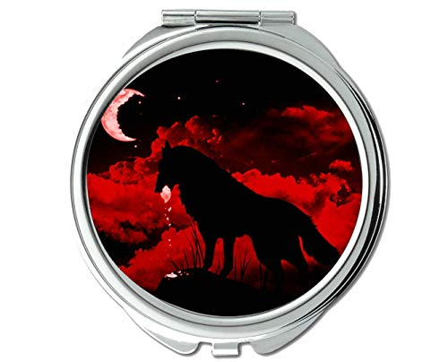 Yanteng Spiegel, Reisespiegel, Moonlight-Taschenspiegel von Animal Wolf, 1 X 2X Vergrößerung
