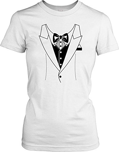 Fancy Dress Stag Do Ladies T Shirt - white - Ladies - 16 (Tuxedo Dress Womens)
