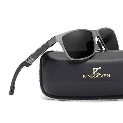 Kingseven Carbon Sonnenbrille Rechteckig UV400 Polarisiert HD Vision Outdoor Sommer Sport Trekking Auto (Gunmetal, Schwarz)