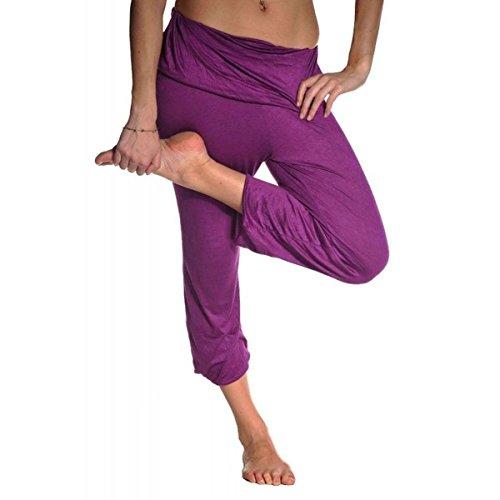 Yoga Fitness pant Pilates Hose Haremshose Trainingshose Sporthose Jogginghose Freizeithose Astana Farbe Lila, Größe L (Der Gesmokt In Taille Hose)