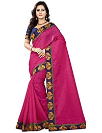 3294efc974 Jaanvi fashion Women's Bhagalpuri Silk Kalamkari Saree with Figure Printed  Lace with Unstitched Blouse(Elephant_Lace