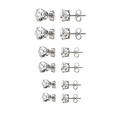 Besjewel 6 Pairs Diamond Stud Earrings for Women 316L Surgical Stainless Steel Earrings, 3mm-5mm (Diamond 6 Pairs)