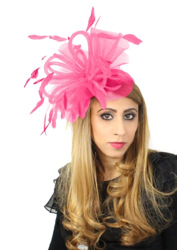 Hats By Cressida schwarz SAMT 20,3 cm Sheer Ascot Kentucky Derby Fascinator mit Haarband Gr. One Size, Fuchsia - Sheer Fuchsia