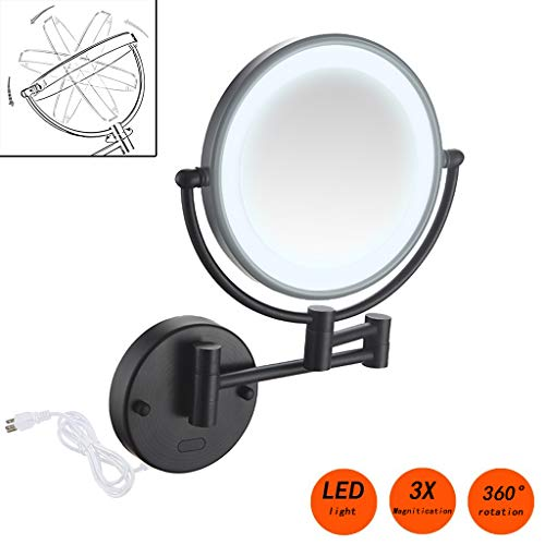 Espejo de Maquillaje con luz led y Aumento de 3X, 8 Pulgadas Doble Cara Giratoria de 360 °, Fácil...