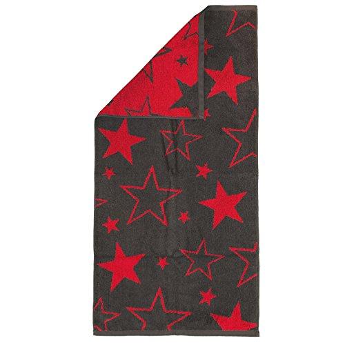 Trend Frottiertücher BIG STAR Anthrazit Flauschig Weich Sterne Design, Größe:Duschtuch 70x140 cm