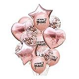 ZSQQSCL Festliche Dekorative Luftballons 12-Zoll Gemischte Farbe Runde Stern Herz Konfetti Ballon Set Für Familie Party Dekoration, F