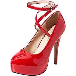 OCHENTA Femme Escarpins Bride Cheville Sexy Talon Aiguille 14CM Plateforme Epais Chaussures Club Soiree 01 PU Rouge Asiatique 44 (270 mm)