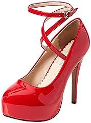 Idea Regalo - OCHENTA Scarpe col Tacco Donna (Beige Unico) PU Rosso CN 45 - EU 42.5