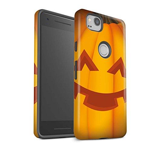 Stuff4® Matte Harten Stoßfest Hülle/Case für Google Pixel 2 / Glücklich Muster/Halloween Kürbis Kollektion (Glücklichen Halloween Taschen)