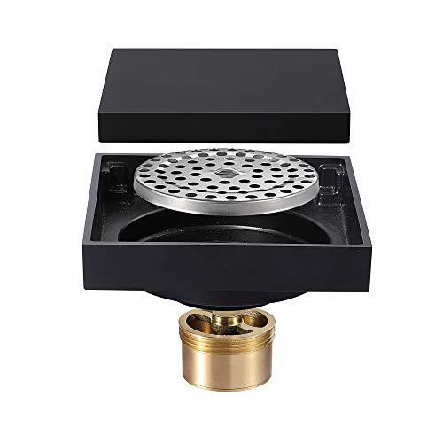 Preisvergleich Produktbild HHJJ 4-Zoll-Quadrat Dusche Bodenablauf Flieseneinsatz Messing schwarz plattiert Bodenablauf Desodorierung verhindern Rückfluss Gitter Rost Sieb