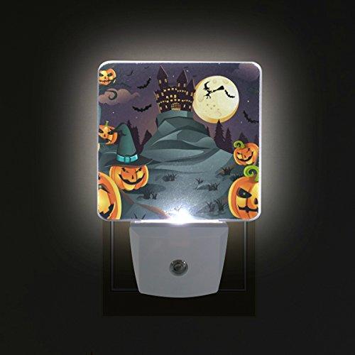 (COOSUN Halloween Kürbisse Hintergrund Plug-in LED-Nachtlicht Selbst-Sensor Smart-Dämmerung bis Dämmerung dekorativer Nacht für Schlafzimmer, Badezimmer, Küche, Flur, Treppen, Flur, Baby Zimmer, Ener)