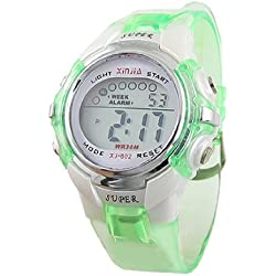 Children Green Water Resistant Multifunction Sports Digital Watch