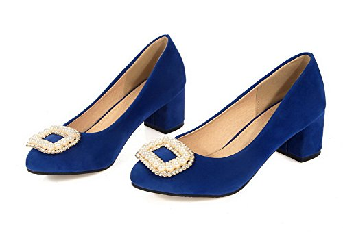 AgooLar Femme à Talon Correct Dépolissement Couleur Unie Tire Rond Chaussures Légeres Bleu
