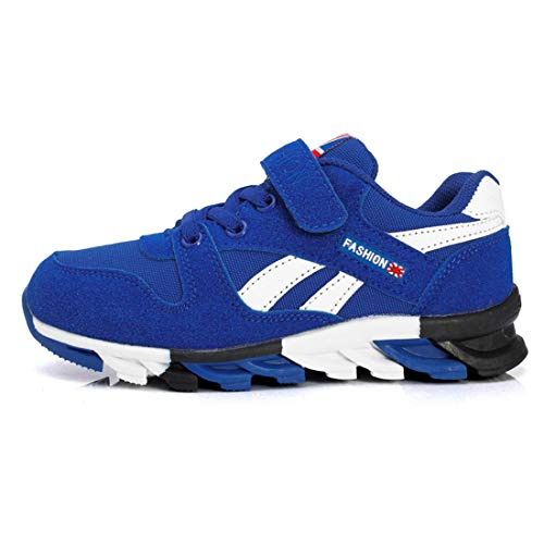 Unpowlink Kinder Schuhe Sportschuhe Ultraleicht Atmungsaktiv Turnschuhe Klettverschluss Low-Top Sneakers Laufen Schuhe Laufschuhe für Mädchen Jungen 28-37, 1833-schwarz und Blau-a, 37 EU