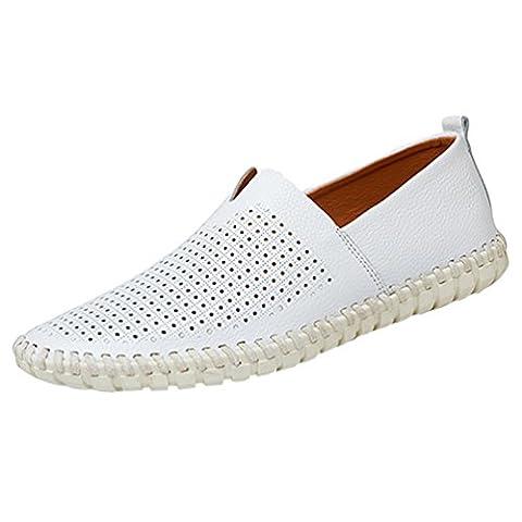 YiLianDa Herren Leder Slipper Leicht Flache Schuhe Anti-Rutsch Spaziergang Schuhe Weiß Stoma 41