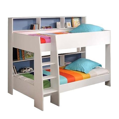 prisot 90x200 Kinder Etagenbett Doppelstockbett Weiß Rückwand Blau und Pink Drehbar (Günstige Jugendbetten)