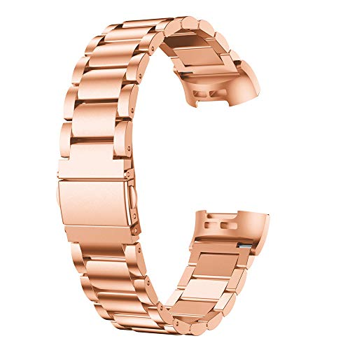 Compatibel Fitbit Charge 3 Armband Luxus Edelstahl in 3 Farben, Unisex Stainless Steel Smart Watch Uhrenarmband Ersatzarmband für Fitbit Charge 3 (Roségold)