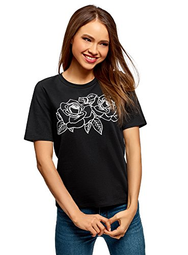 oodji Ultra Damen Baumwoll-T-Shirt mit Druck, Schwarz, DE 44 / EU 46 / XXL