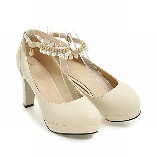 Mee Shoes Damen high heels Plateau ankle strap Pumps Beige