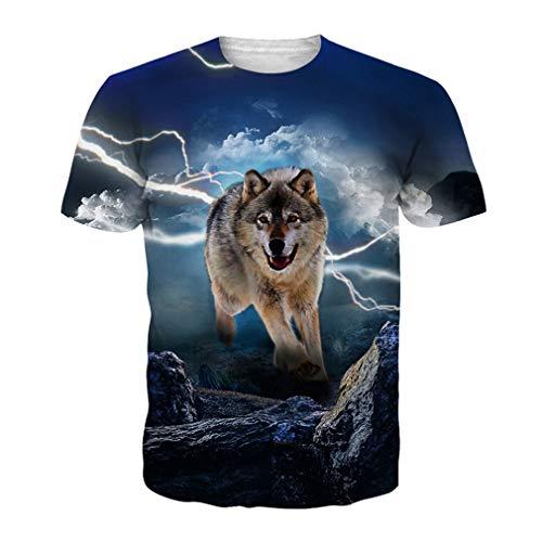 Lightning Wolf 3D T-Shirt EUR Größe Kleidung Sommer Hip Hop Kleidung Unisex Funny T-Shirts EUR L