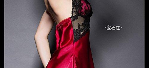 lpkone-Petit Pyjama sangle de dentelle femmes sexy tentation à accrocher mon mince et transparent chemise maille home service Free Taille (40-60kg pour le poids approprié), de couleur rouge rubis Ruby Red