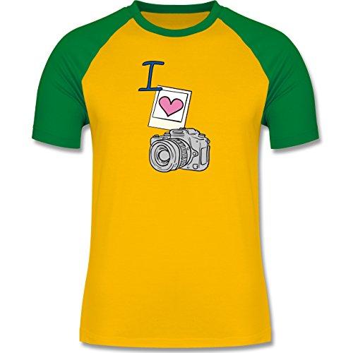 I love - I love photography - zweifarbiges Baseballshirt für Männer Gelb/Grün