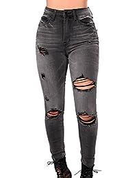 yulinge Las Mujeres Jeans Rasgado Destoryed Slim Denim Pantalones Plus Size 2acfdbb36c04