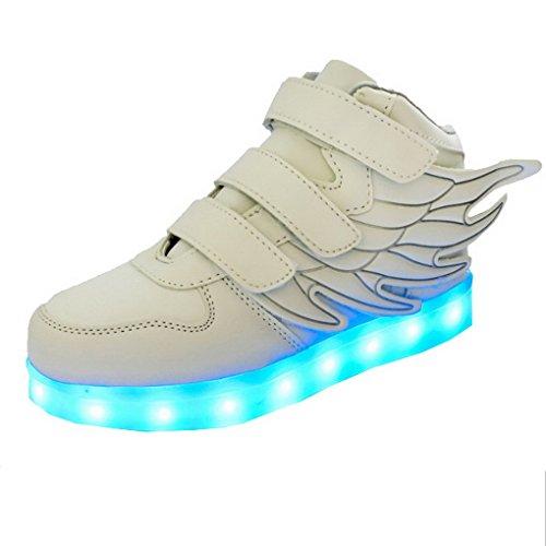 ACME - Unisexe Enfant Baskets Lumineuses Chaussures de Sport Clignotantes avec 7 Couleurs LED Colorés USB rechargeable Style d'ailes d'ange pour Fille Garçon Blanc