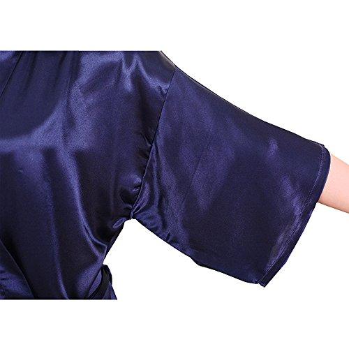 FY Damen Kimono Robe Bademäntel Morgenmäntel Bathrobe Imitation Seide Saunamantel Schlafanzüge Nachtwäsche Sleepwear Sauna Wellness Spa Party Hochzeit Party Dunkelblau