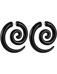 Cosanter pendientes de pendientes negros de espiral pendientes de niña linda (1 pares) tamaño