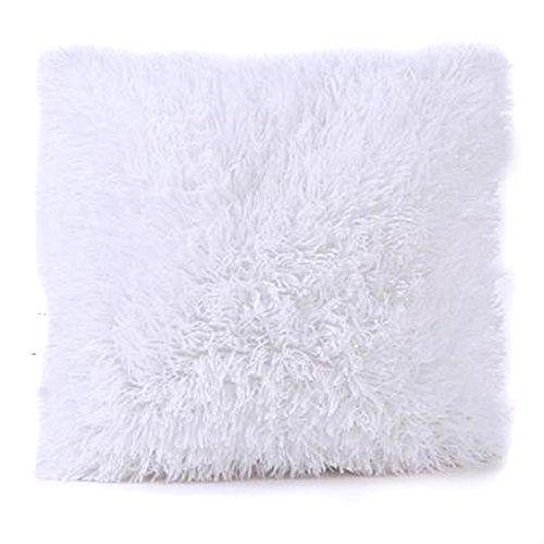 1Stk Weichen Plüsch Kissen Abdeckung Sofa Werfen Kissen Dekor 18 x 18 Zoll (Weiß)