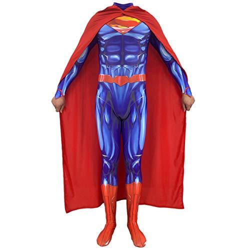 QQWE Justice League Superman Mann aus Stahl Cosplay Kostüm Kinder Erwachsene DC Hero Fancy Dress Kostüm Weihnachten Halloween Stage Performance - Superman Kostüm Für Den Mann Aus Stahl