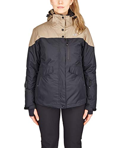 Ultrasport Advanced Damen 3 in 1 Allwetter Funktionsjacke All Season für Outdoor, Ski/Snowboard, Freizeitjacke mit vielen Taschen, wasserdicht, winddicht und atmungsaktiv, schwarz/taupe, L