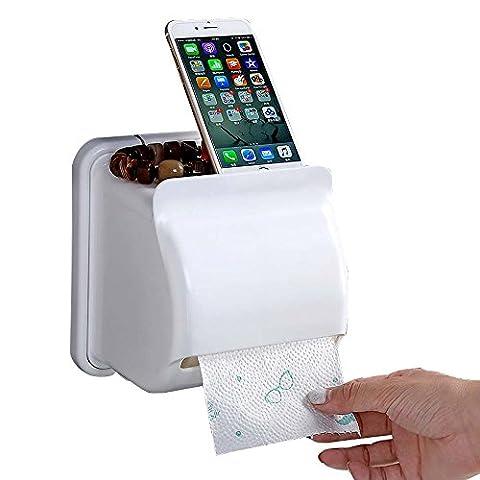 Toilettenpapierhalter Badezimmer Wasserdicht, Kunststoff Papier Rolle Aufhänger Halterung Spender Tissue Halter Aufbewahrungsbox mit Wandhalterung (Natural Wood Cabinet)