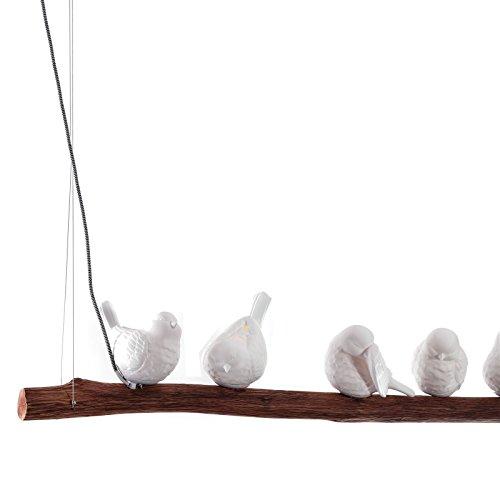 'Lampe suspension décorative Oiseaux Branche | 120 cm Blanc/marron | Porcelaine Oiseau, suspension
