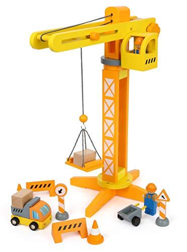 Baukran (small Foot 12007 Baukran aus Holz, FSC 100%-Zertifiziert, mit Baustellenzubehör, 13 Teile, 360 Grad drehbar, für kleine Bauarbeiter Spielzeug, Mehrfarbig)