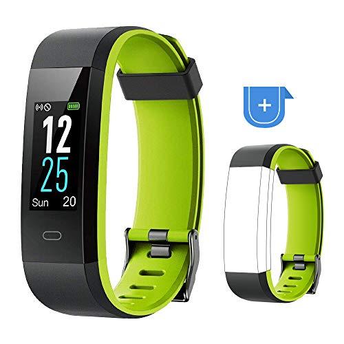 and mit Pulsuhr,Wasserdicht IP68 Fitness Uhr Smartwatch Farbbildschirm Fitness Tracker Pulsmesser Schrittzähler Sportuhr für Damen Herren Anruf SMS Beachten für iOS Android Handy ()