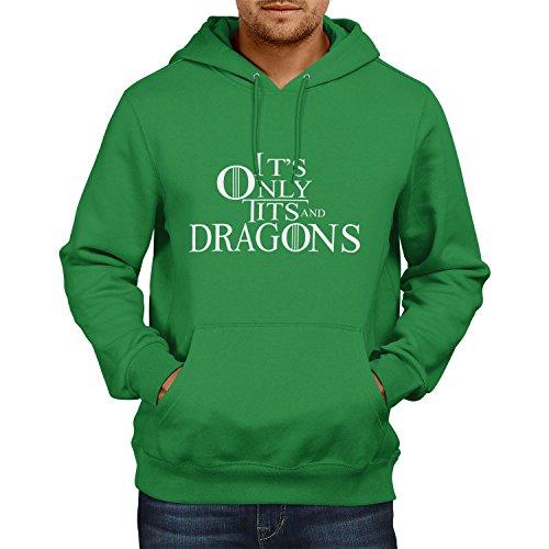 TEXLAB - Tits and Dragons - Herren Kapuzenpullover, Größe XL, grün